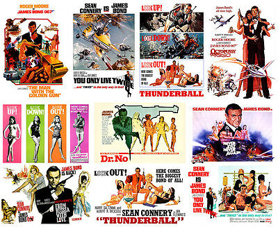 James Bond 007 Posters Sean Connery Roger Moore Thunderball Dr No Octopussy