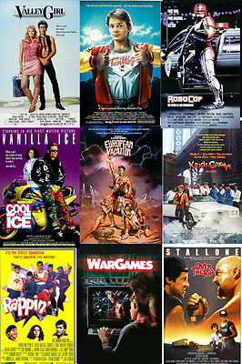 80's Movie TV Posters Valley Girl Teen Wolf Vanilla Ice Rappin' War Games
