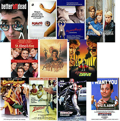 80's Movie Posters Porky's Better off Dead Zapped Stripes Dr Detroit Retro Party