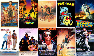 80's Retro Posters Goonies 16 Candles RoboCop Pac Man Bfast Club Terminator