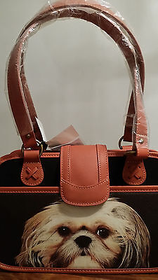 "NEW Ardleigh Elliott ""Faithful Friends"" Shih Tzu Dog Leather Handbag Tote Purse"