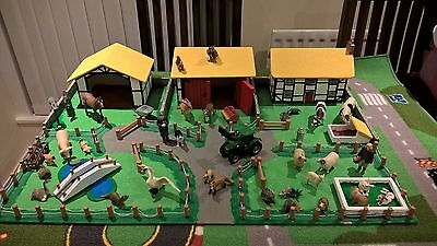 Large Wooden Play Farm with Schleich animals and accessories