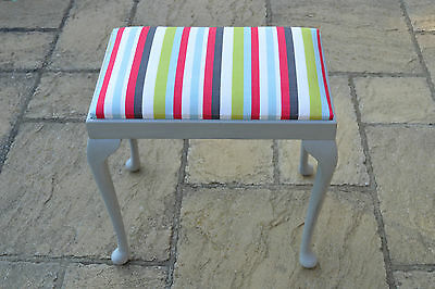 Victorian Piano Stool, Painted & Fully Restored With New Bold Stripey Linen Seat