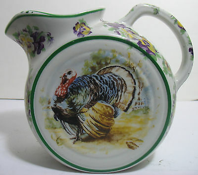 Vintage TEPCO Turkey & Pansy Large Disk Water Pitcher Flowers Mint