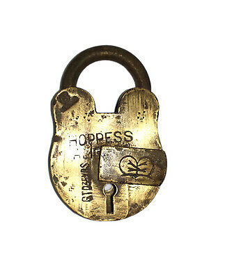 An Attractive Vintage Old genuine Brass made Padlock Lock with a Key from INDIA