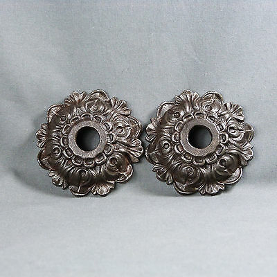 Antique French Pair of Cast Iron Rosette Decorative Foliage Art Nouveau 19th