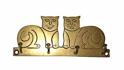 A lovely Old Brass made Unique 2 SITTING CATS Designed coat hook from India