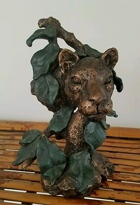 Bronze-tone Resin Leopard in Tree Figurine Statue Collectible Decor Wildcat Leaf