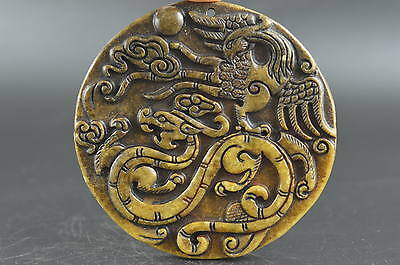 China Old Collectibles Jade Carving Flying Dragon Phoenix Rare Noble Pendant