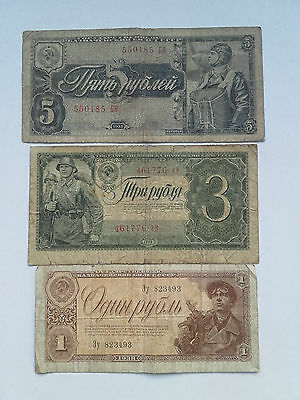 Russland 1-3-5 ruble Russia 1938 banknote