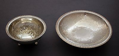 Vintage silver plate pair 2 small serving raised bowls round chased floral
