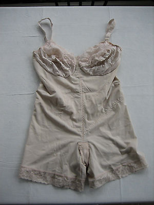 Vintage SMOOTHIE Nude All In One Body Bra, Girdle, Garter Style 6852 - Size 42D