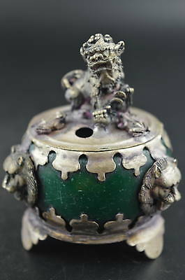 China Miao Silver Carve Kylin & Lion Head Inlay Green Jade Unique Incense Burner