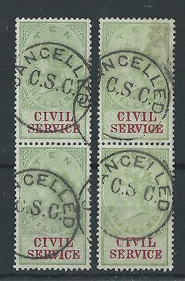 GB - QV Civil Service 10/- Pairs Cancelled