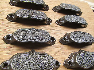 Large Lot Of 8 Old Eastlake ?? Drawer Pulls Sash Lifts Handles Ornate Detail
