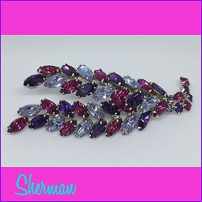Sherman Abstract Brooch Purples And Pink !