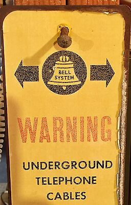 Vintage Bell System UNDERGROUND TELEPHONE CABLE. CALL BEFORE YOU DIG METAL SIGN