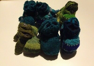 Job Lot Of 6 Child's Hand Knitted Nepal Wool Fingerless Gloves/mittens On String
