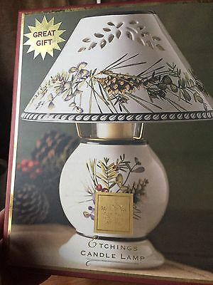 Lenox Etchings Candle Lamp Holiday Leaf and Berries Design Christmas