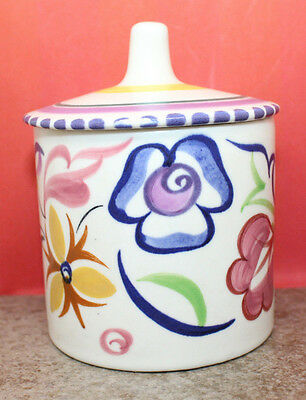 Poole Pottery England Hand Painted Colorful Floral Flower Sugar Mustard Bowl Lid