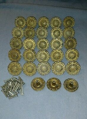 28 Vintage Signed Japan French Provincial Metal Drawer Knob Pull Lot Large 1.5""