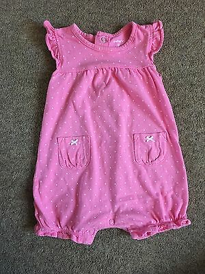 Carter's Baby Girl Pink and White Spot Romper - 6-9 Months