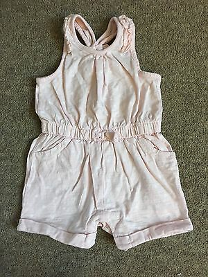 F&F Baby Girl Pink and White Spot Romper - 6-9 Months