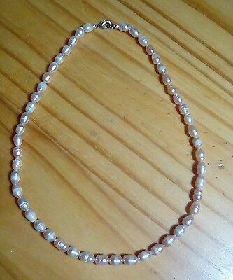 Freshwater 17in pearl necklace, light apricot in colour, from Tenerife