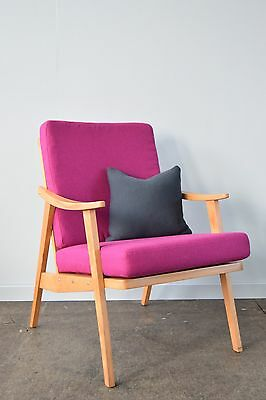 Retro Slat Back Armchair - Pink Wool with Natural Frame