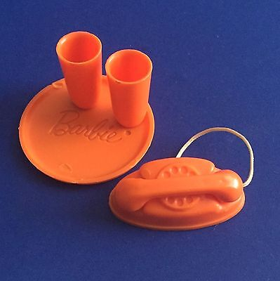 Vintage Barbie Go Together Orange Plate, Cups & Telephone