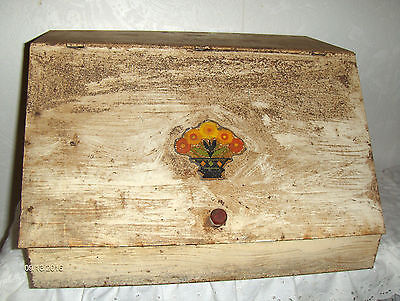 Vintage Tin Metal White & Rusty Bread Box Flower Decal Pie Shelf Farmhouse Decor