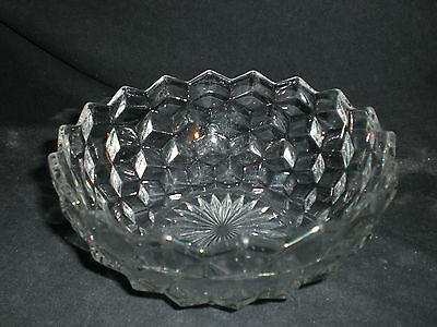 "Fostoria American Cube Glass 6 1/2"" Bowl"