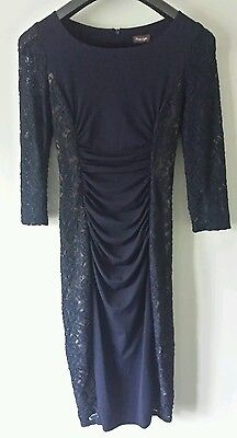 Phase eight ladies size 10 navy ruched dress with lace excellent condition