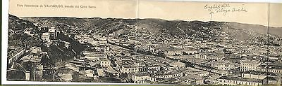 Chile. Valparaiso. Panoramic Card. Novelty Large Size. Length of four postcards.