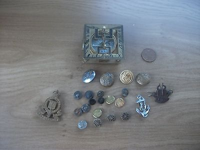 antique?/vintage? mixed lot of military buttons/ badges? & a compass