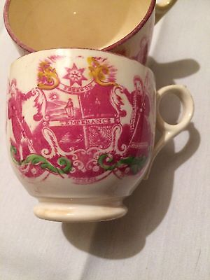 Two Pink Lustre Temperance Cups
