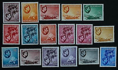 SEYCHELLES - SG135-149 King George VI 1938-49 17 stamps Mounted Mint MM.