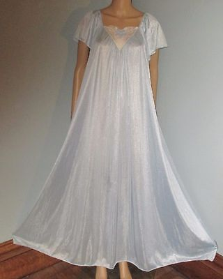 """Sears Blue Sheer Nylon 104"""" Full Sweep Embroidered Long Flowing Nightgown 1Size"""