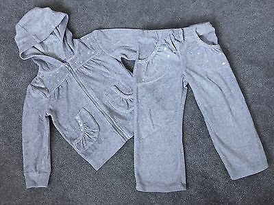 Girls Grey Sequined Tracksuit Size 3-4 Years Excellent Condition