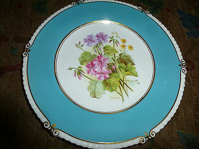 Stunning  SIGNED decorative plate by Aynsley pattern GERANIUMS