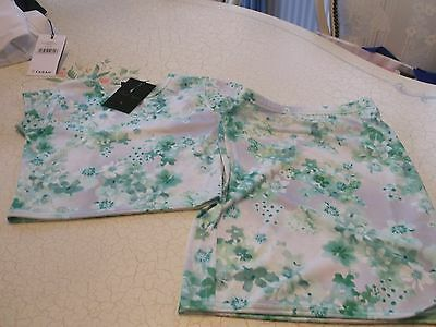 Bnwt Girls Short Sleeved Top And Matching Skirt Age 9-10 Years Green White