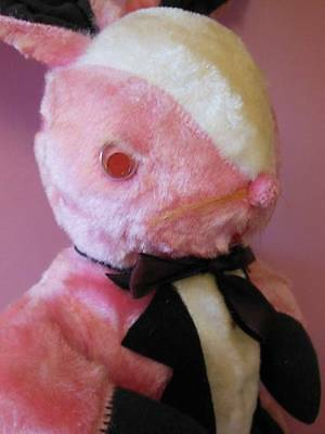 Vintage Large Easter Rabbit Cloth Pink Stuffed Easter Bunny In Tuxedo 20""