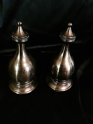 """Pair Large 8"""" Heavy Pewter Colored Metal Finials"""
