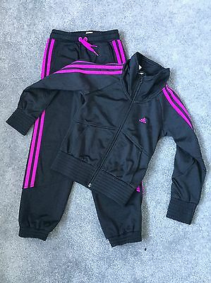 Girls Pink And Black Adidas Tracksuit Size 7-8yrs Immaculate Worn Once