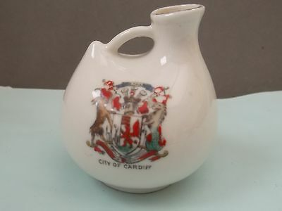 Model Of A Bottle / Ewer  Crested City Of Cardiff By Gemma China