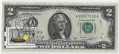 Two Dollar Bicentennial 1976 W/ Chemistry Stamp At Plymouth, Massachusetts