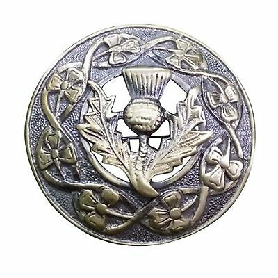"New Scottish Kilt Fly Plaid Brooch Thistle Crest Antique Finish 3""/Brooches/pins"