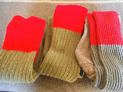 Boy Scout Three (3) Pairs of Red Top Knee High (old style) Uniform Socks Sox