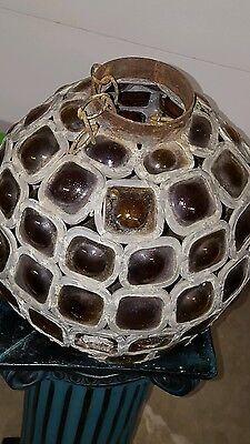 Rare  Antique Hand Made Mosaic Multi Colored Glass Lantern Chandelier Unusual