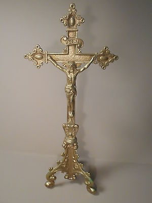 "Vintage Antique Gold Toned Brass Crucifix 12"" Tall Religious Cross"